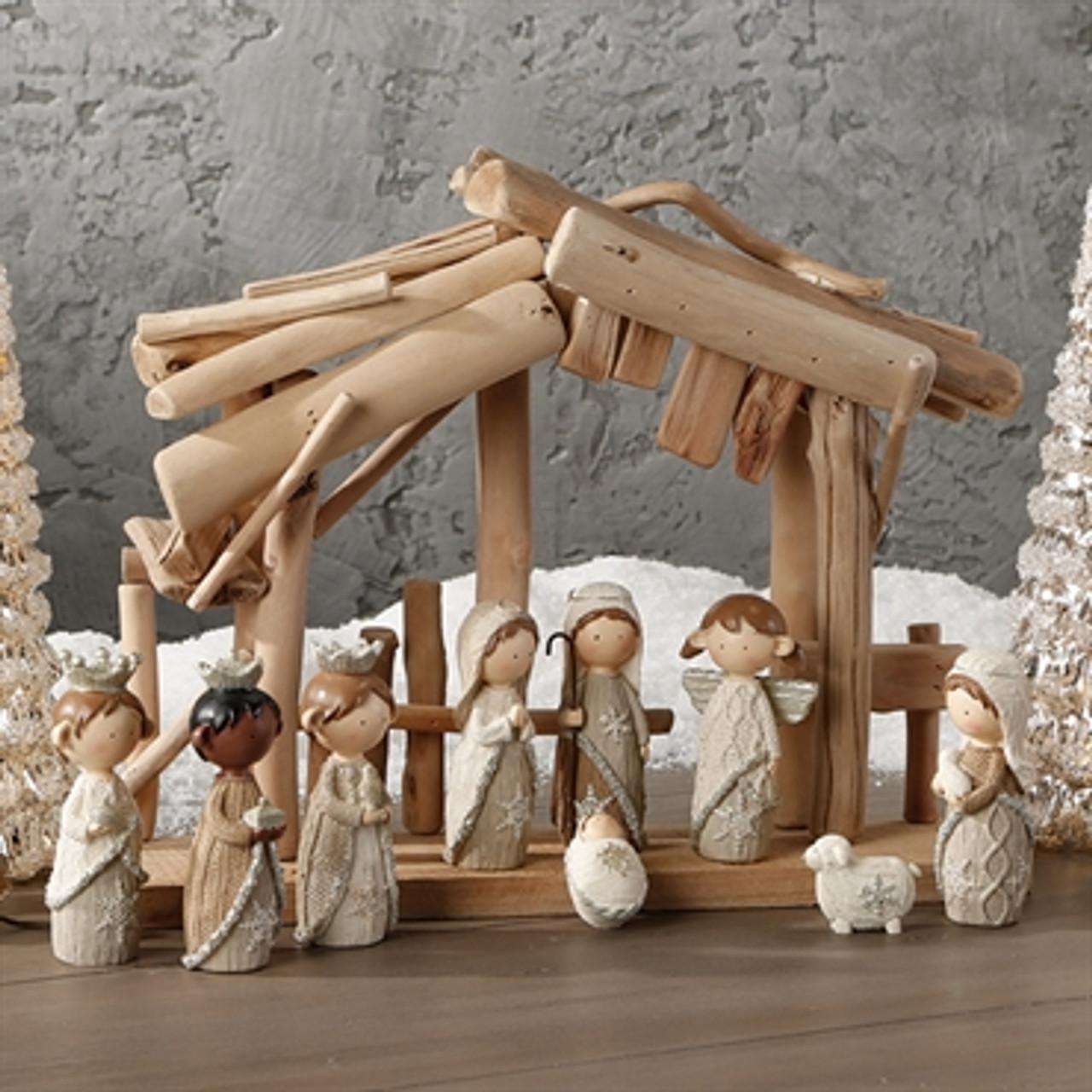 9 Piece Contemporary Nativity Set Faux Knit 4 1 2 Raz3404134