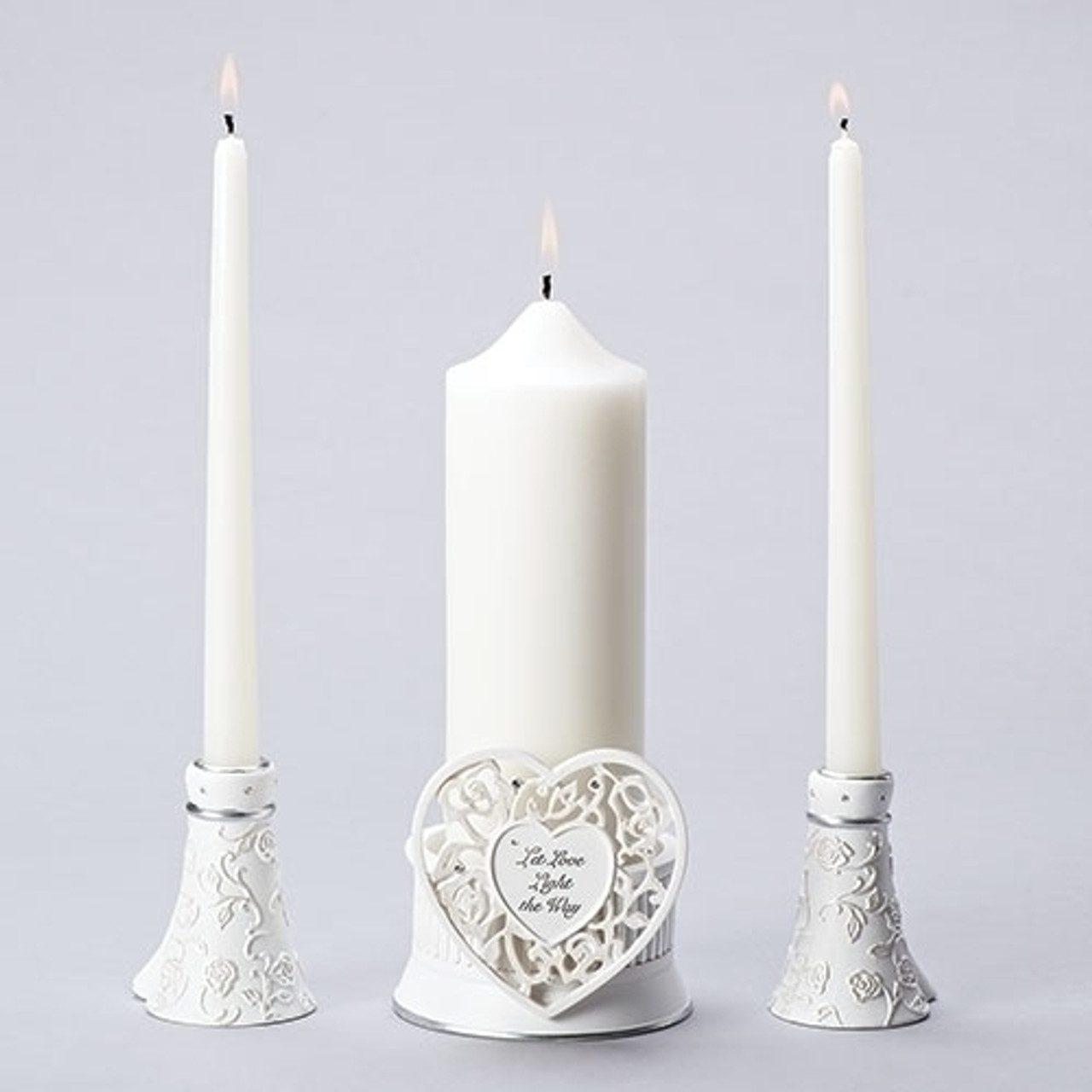 755f26f45f Unity Wedding Candle Set made of polyresin with accent heart reading let  love light the way
