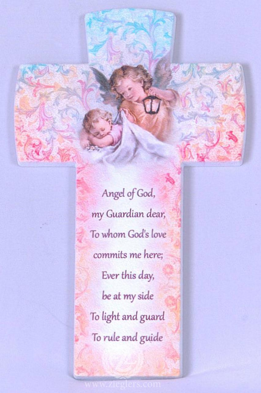 Guardian Angel Wall Cross   Pink & Blue   Prayer   Sleeping Baby   6-1/4