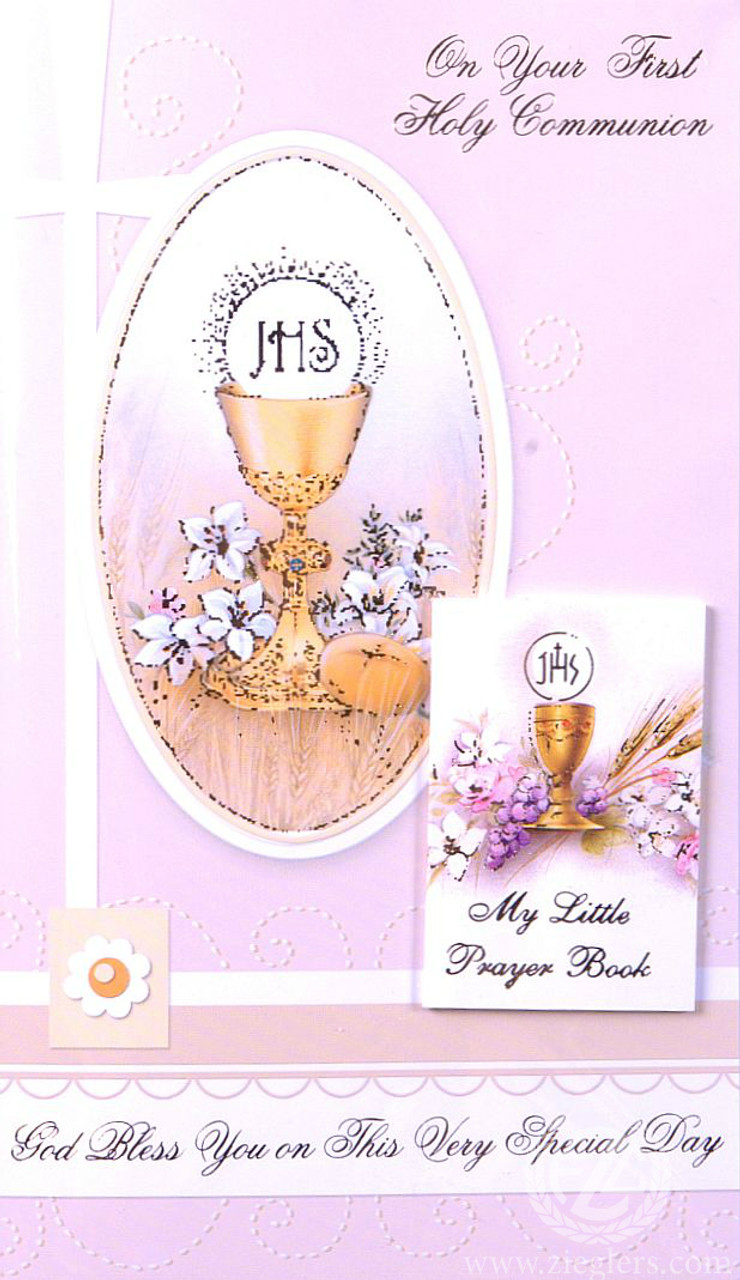 First Communion Greeting Card Removable Prayer Book Girl