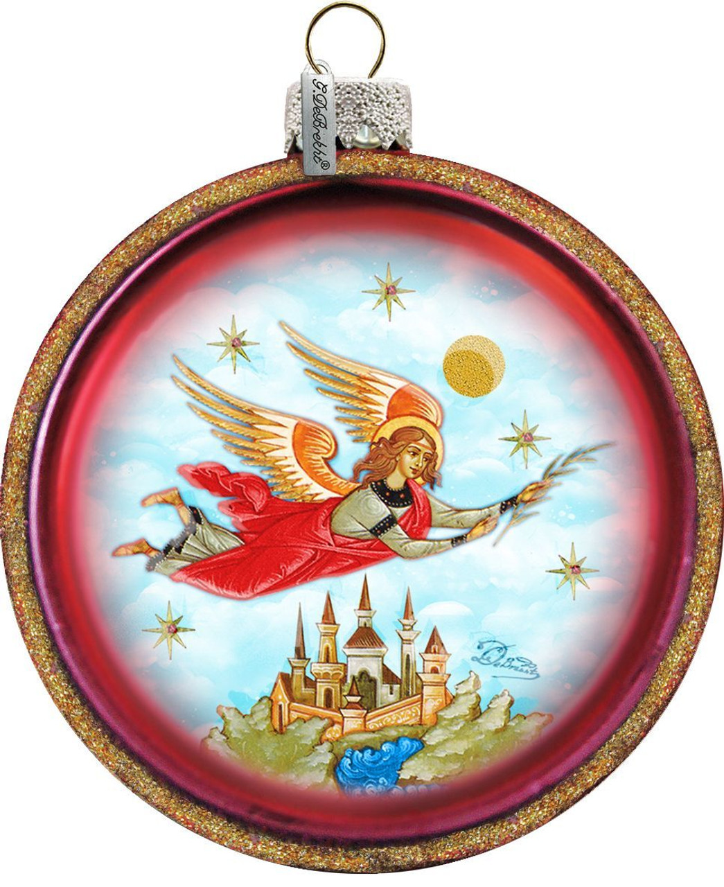 Flying Guardian Angel Christmas Ornament Round Glass Hand Painted 3 1 2 F C Ziegler Company