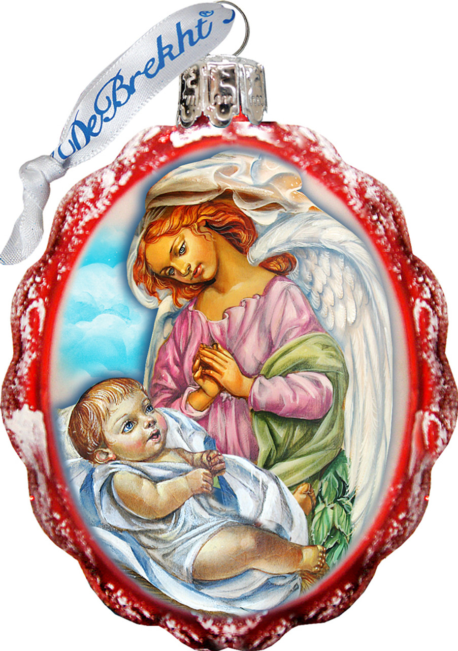 Jesus & Angel Christmas Ornament   Hand-Painted   Scalloped Oval   Glass    3-1/4