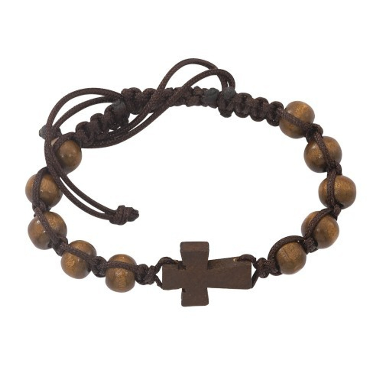 Brown Wood Cross Bracelet Woven Band Wood Beads