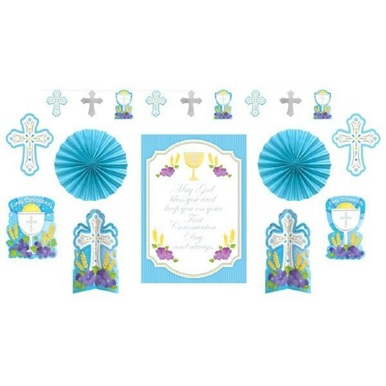 God Bless You First Communion Party Decoration Set Blue