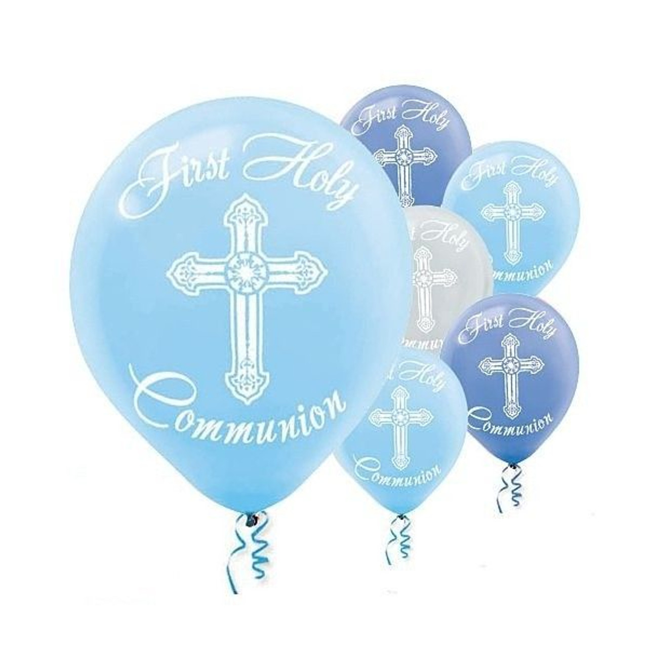 White Cross On Blue | First Communion Balloons | Latex | 12
