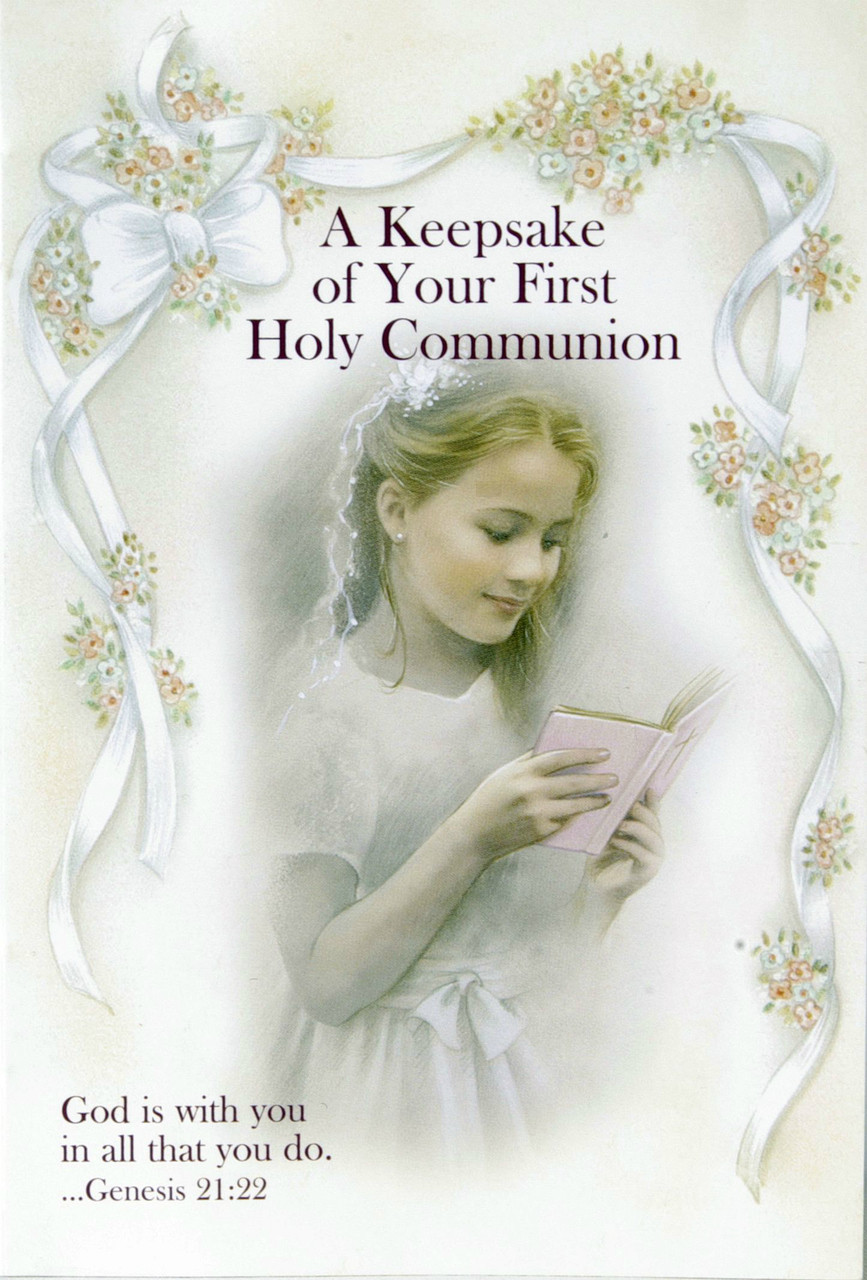 A Keepsake Of Your First Holy Communion Gift Set for a Girl includes booklet, bookmark