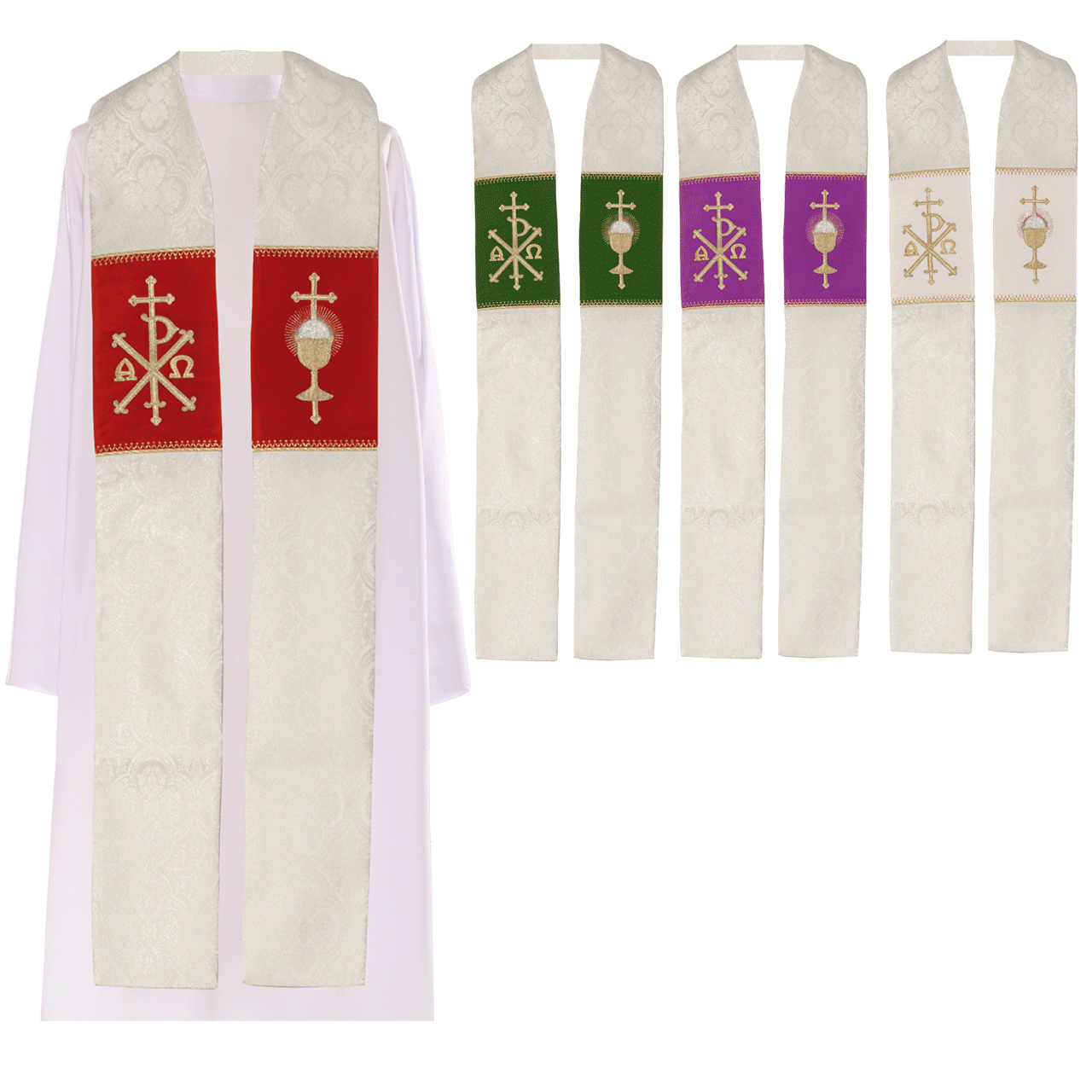 Priest stole chi rho alpha and omega available in 4 accent colors f c ziegler company