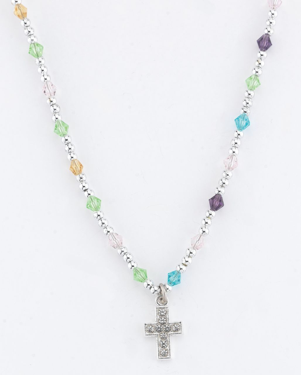 18-Inch Rhodium Plated Necklace with 6mm Light Rose Birthstone Beads and Sterling Silver Saint George Charm.