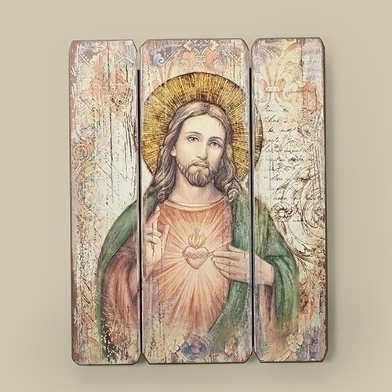 Sacred Heart Of Jesus Wall Plaque 3 Wood Panels 15 Mdf 69918