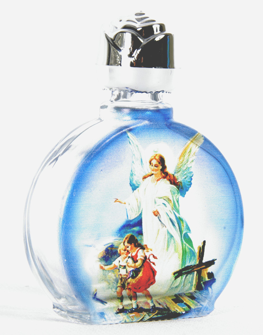 a221b62d Holy Water Bottle | Guardian Angel with Children on Bridge | Round Glass