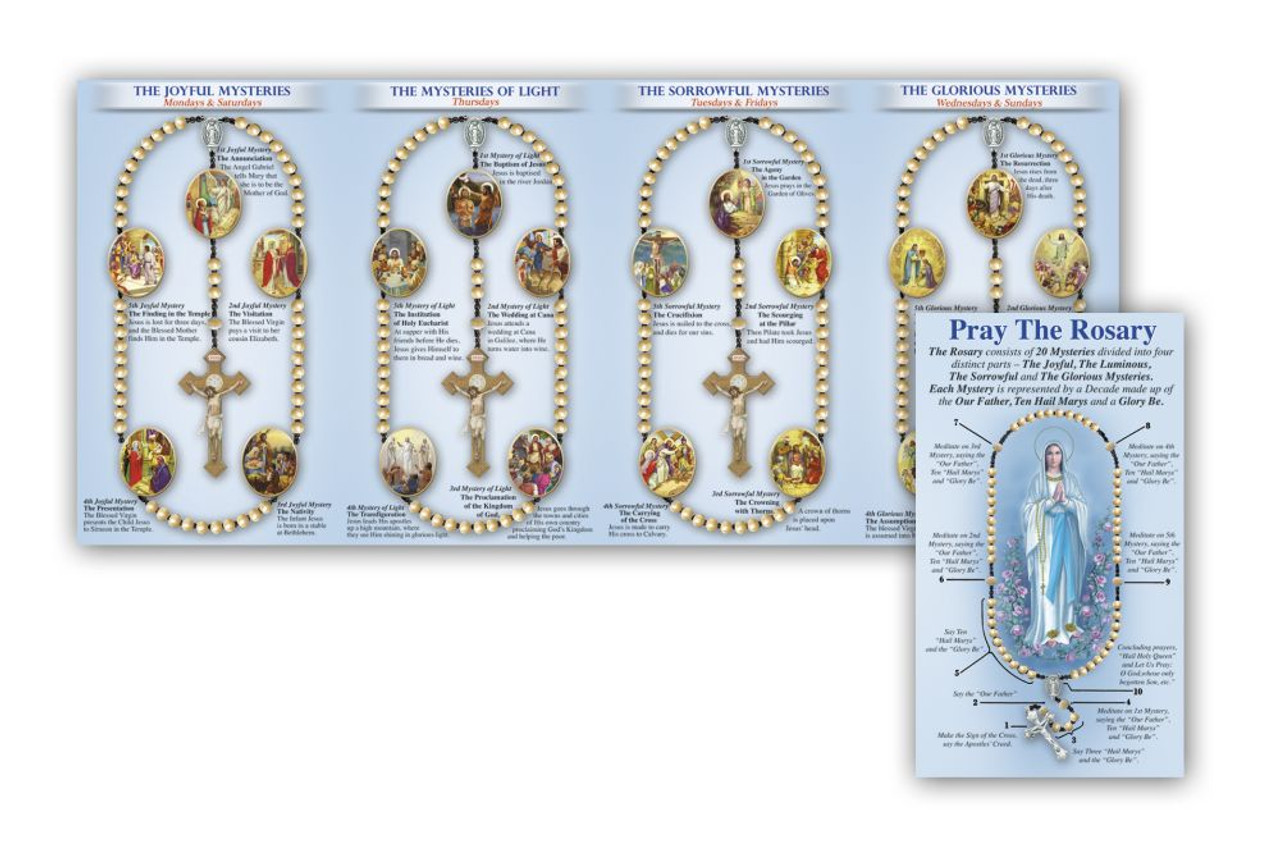 graphic about Mysteries of the Rosary Printable referred to as Pray the Rosary Pamphlet Trifold Prayers Mysteries Chart 150030