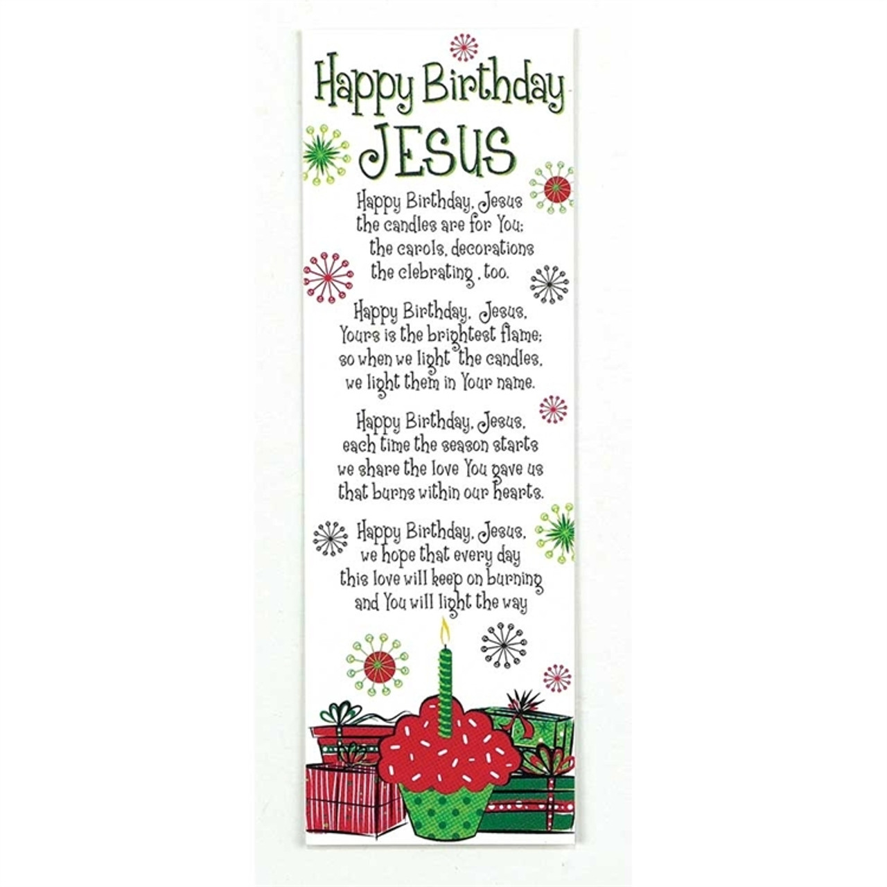 Happy Birthday Jesus Bookmark Poem Festive Colors 2 X 6 Package Of 12