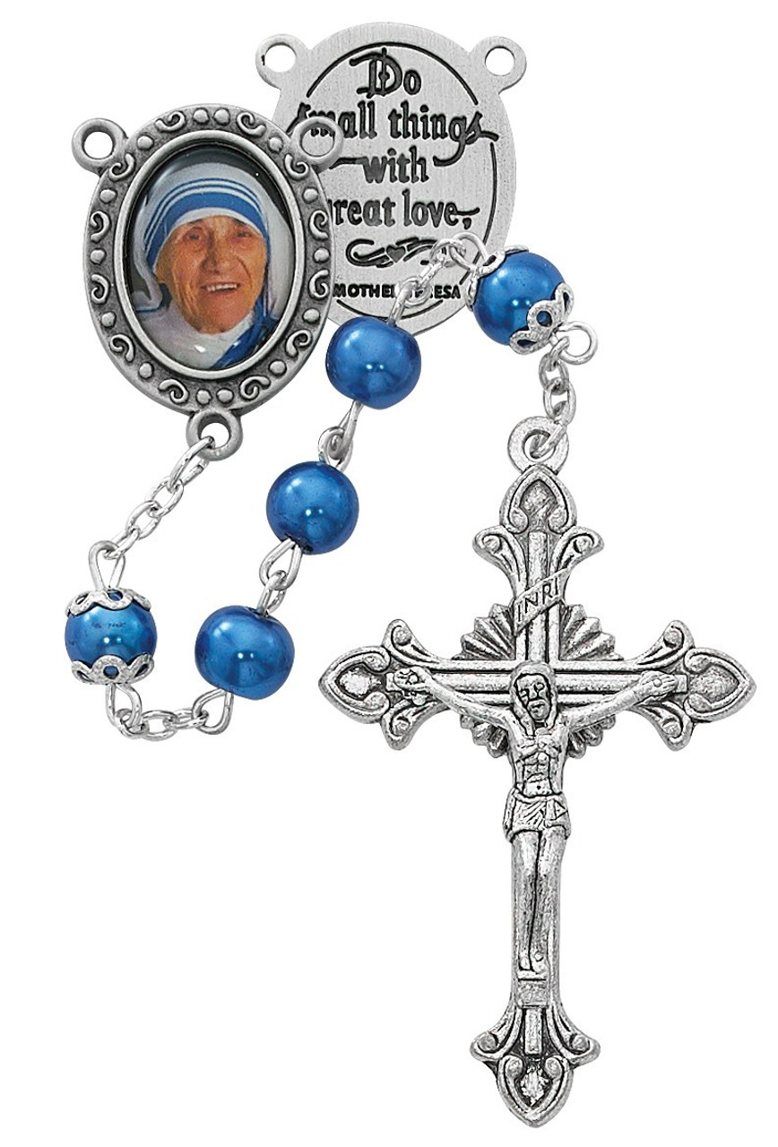 2cb79f2f9 7 millimeter blue faux pearl glass rosary beads with mother teresa  centerpiece measures 18 inches MAR623DF