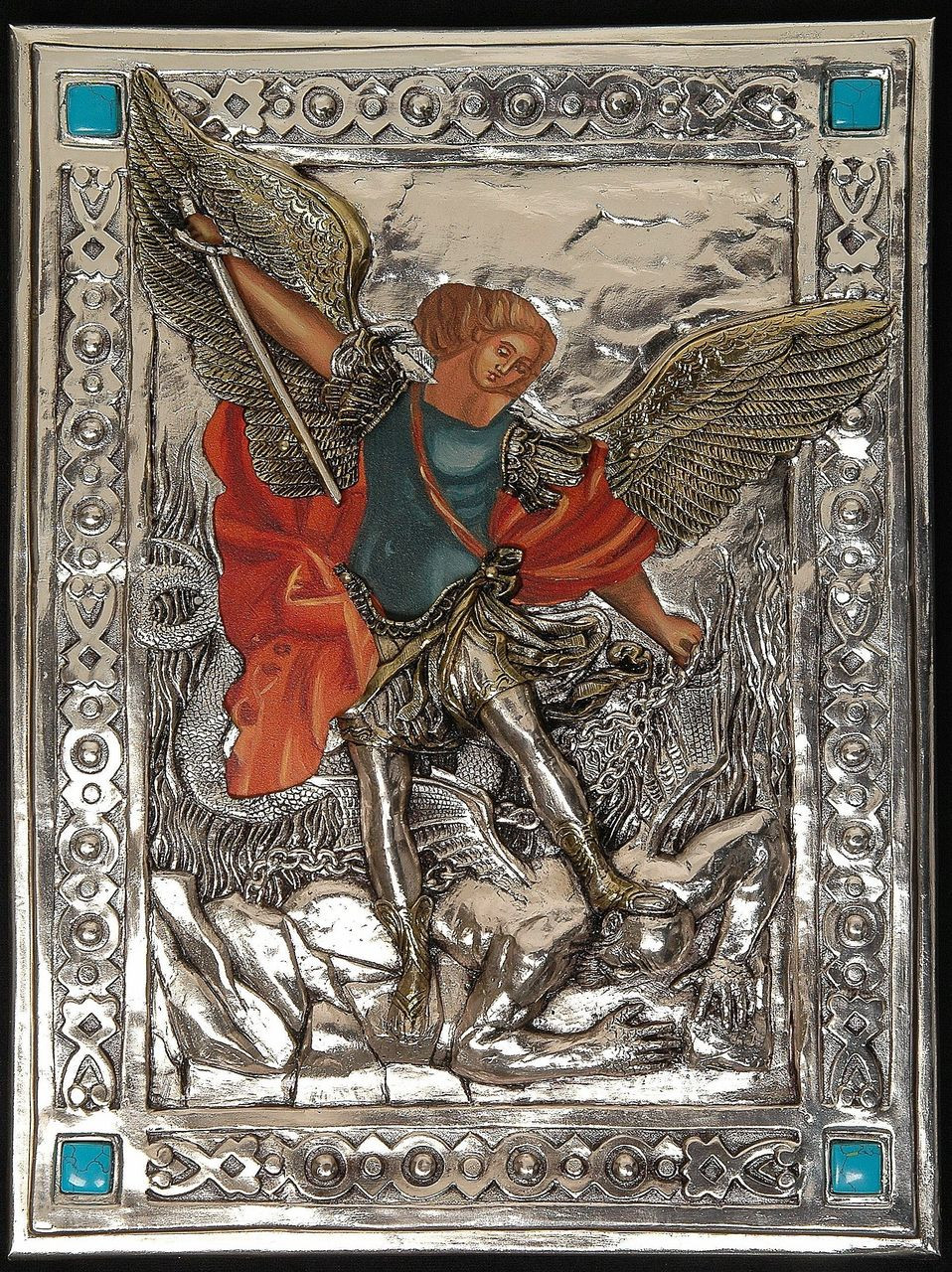 b5962b05 Icon of St Michael the Archangel | Painted Body | Silver and Turquoise  Accents | 10.5
