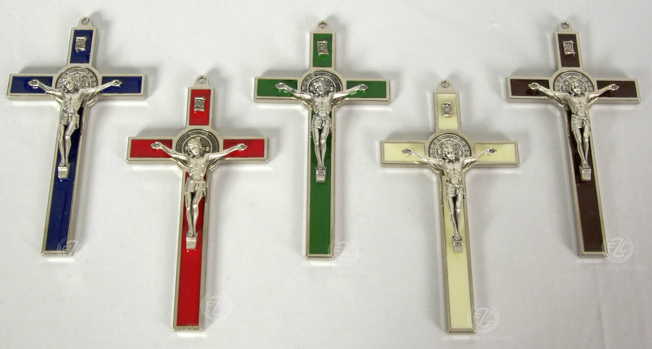 "Saint Benedict Medal Wall Crucifix | 5 Colors | 5"" | Metal | Italy | 434"