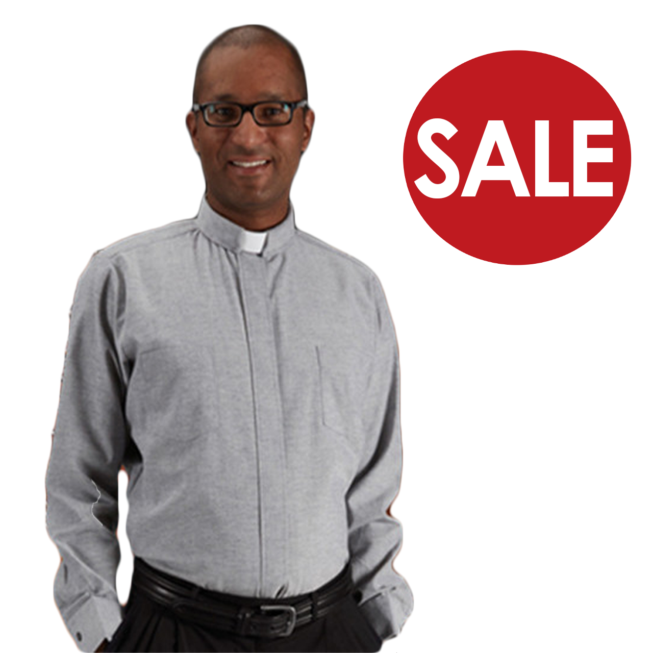 fa0f313595 Clearance Toomey Oxford Clergy Shirt with Tab Collar and Long Sleeves with  60 percent Cotton and