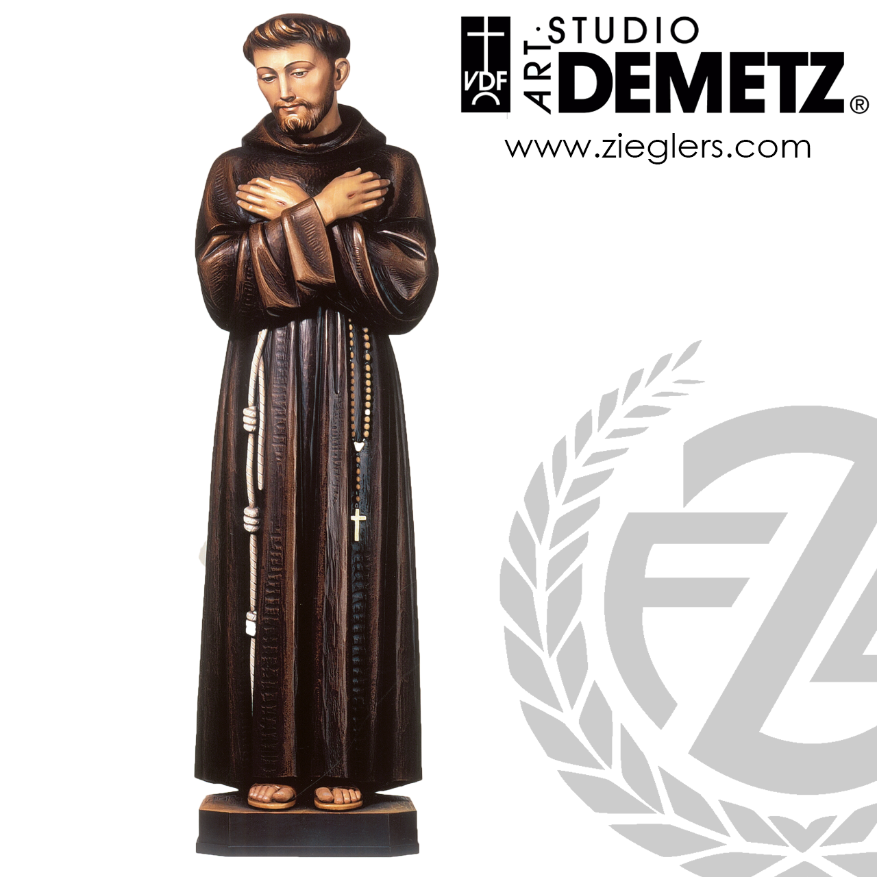 Saint Francis Of Assisi Statue 3 Sizes Linden Wood Or Fiberglass 387 Crafted In Italy