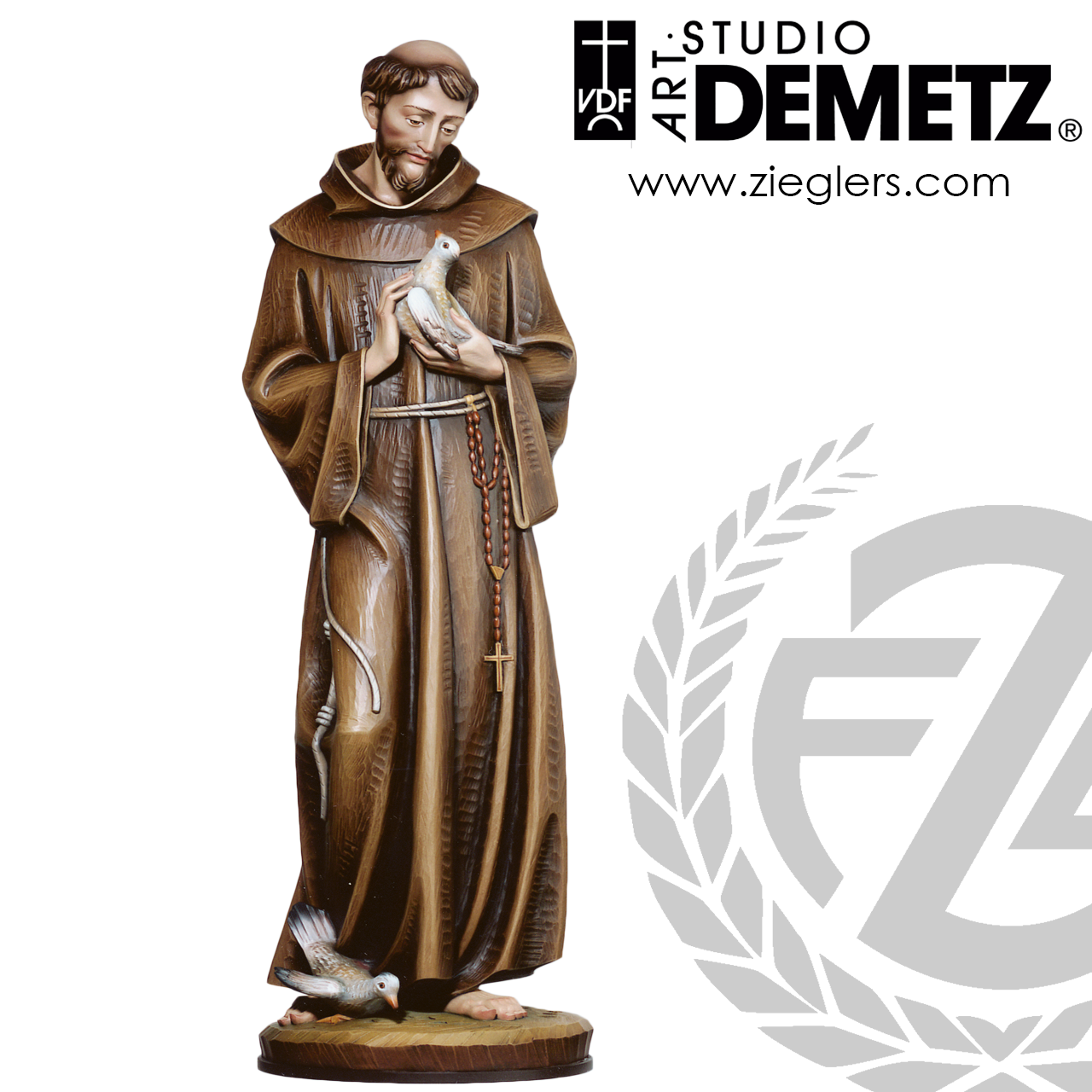 Saint Francis Of Assisi Holding Dove Statue 2 Sizes Linden Wood Or Fiberglass 3902 Crafted In Italy
