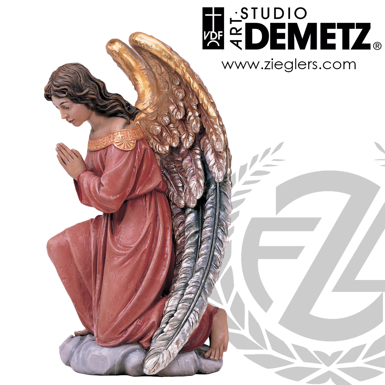 Adoring Kneeling Angel Statue 2 Sizes Linden Wood Or Fiberglass 1261a Crafted In Italy F C Ziegler Company