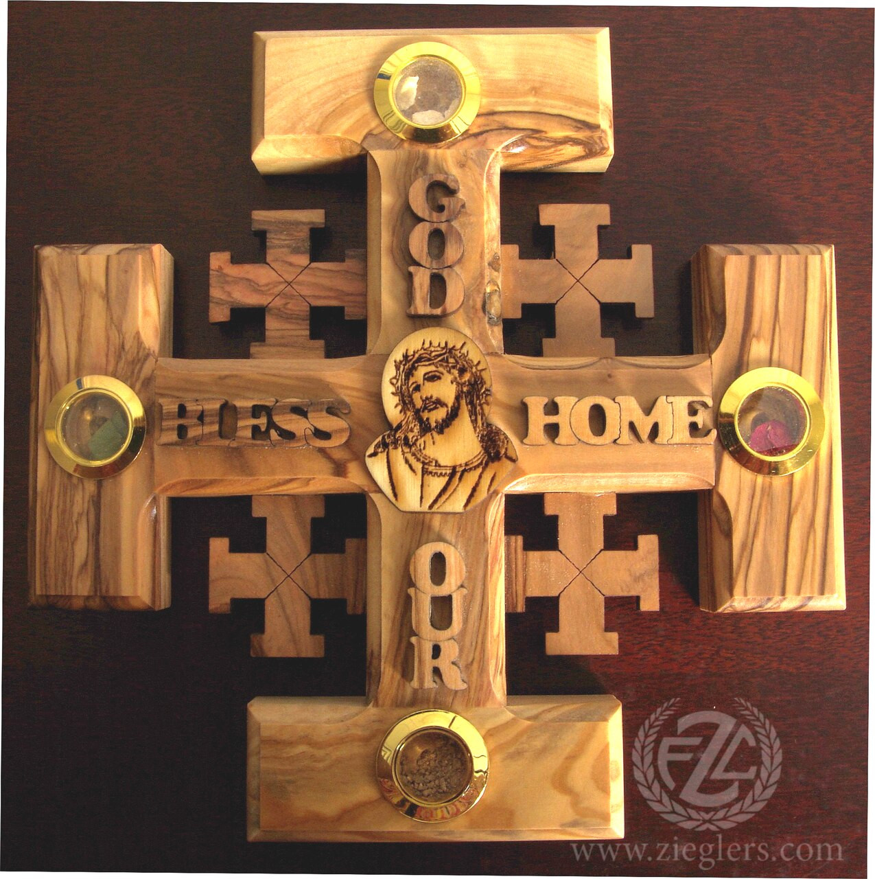 Wall Cross God Bless Our Home 6 Olive Wood Jerusalem Jcow