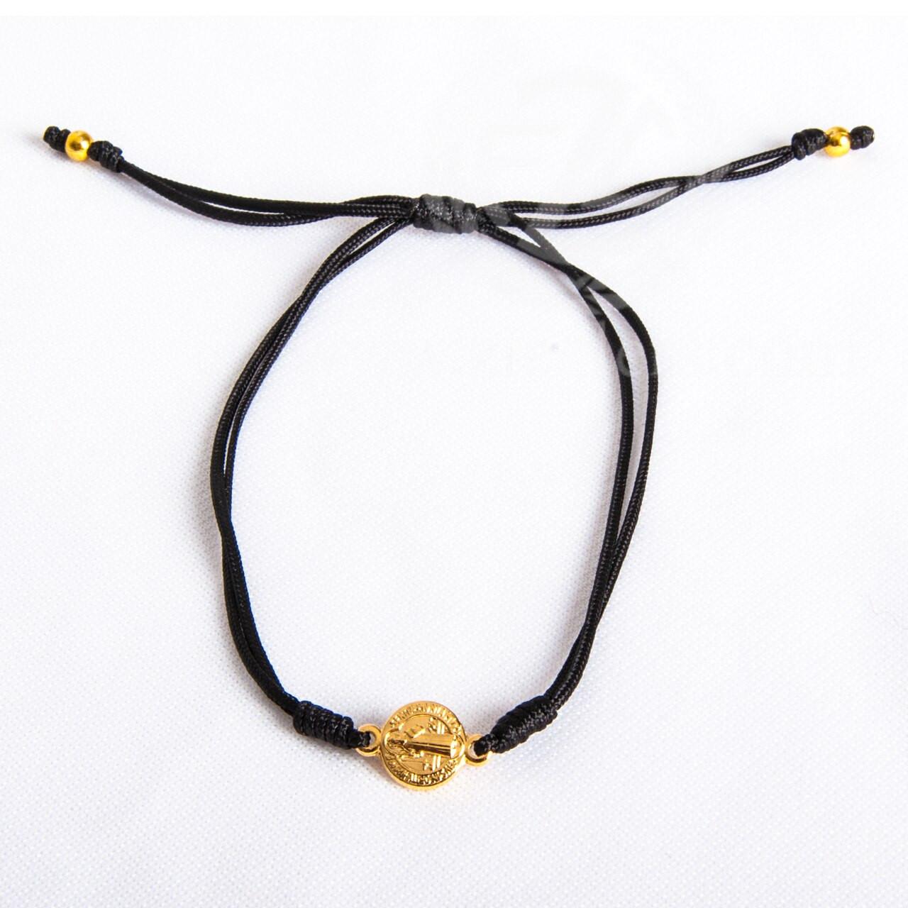 Saint Benedict Bracelet | 1 Gold Medal | Cord | 7 Colors | Medjugorje | SBSB
