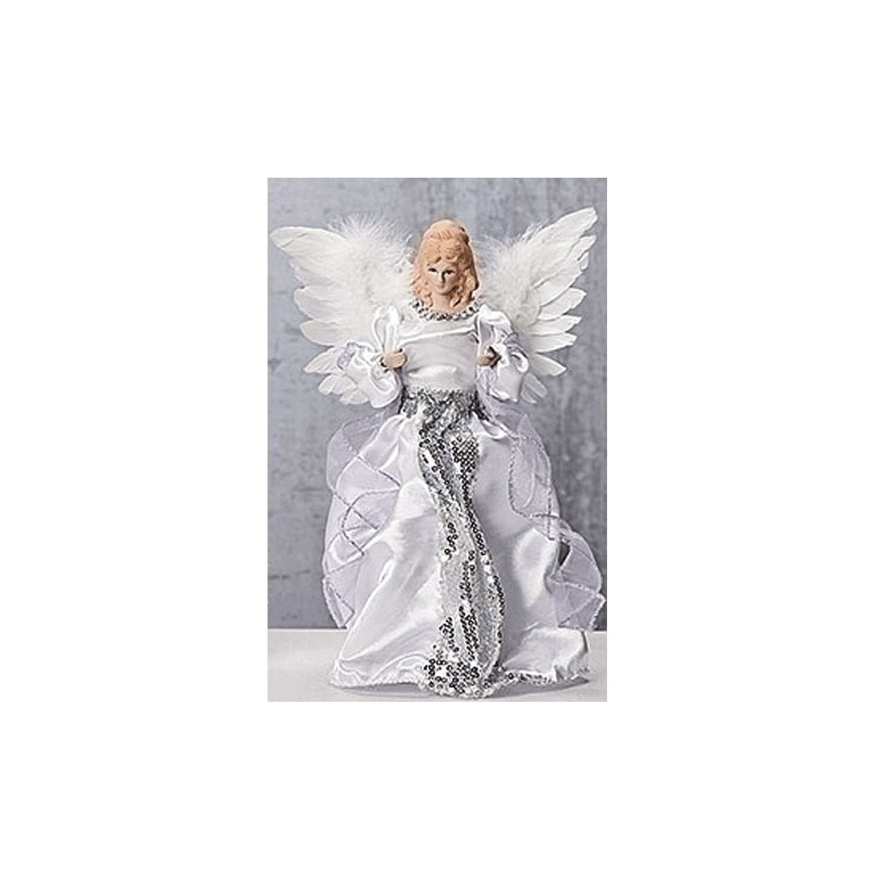 Angel Tree Topper White Gown With Purple Ribbon Feather Wings