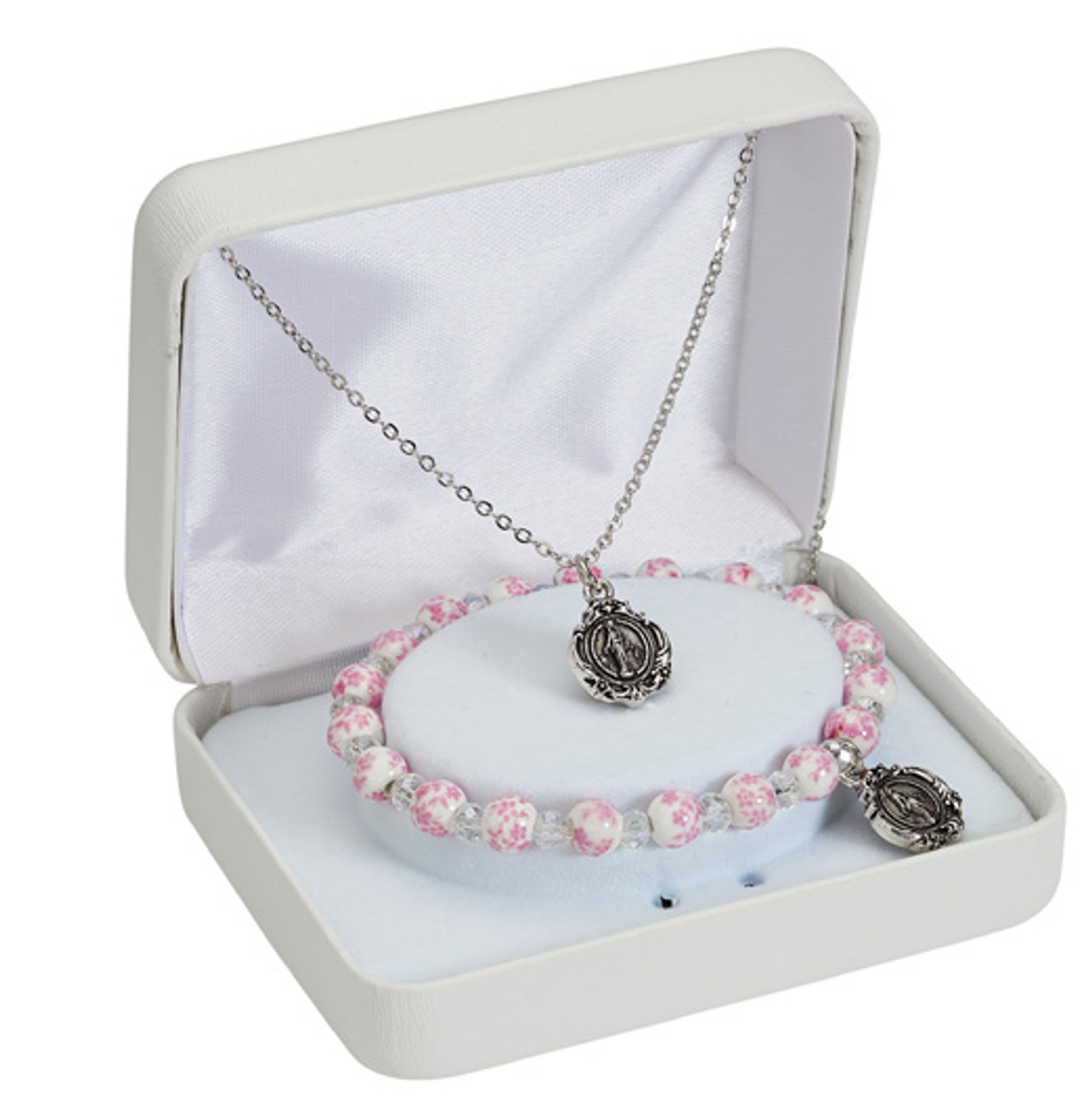 Miraculous Medal Set Necklace Bracelet Pink Ceramic Beads Gift Box Mapnd2w