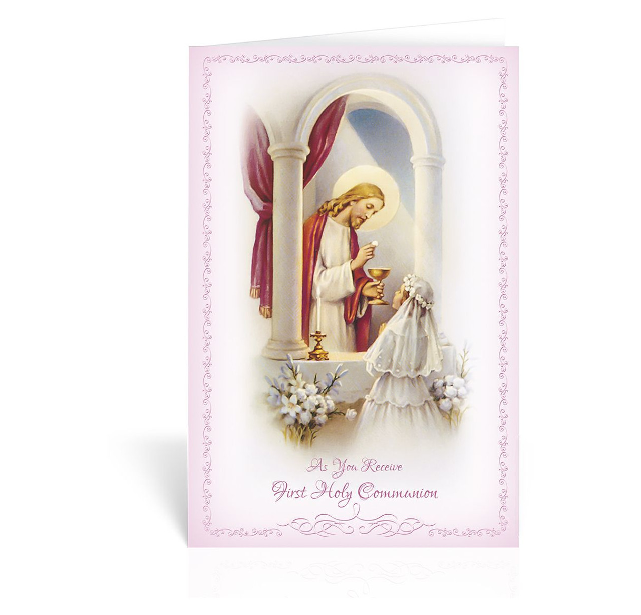 First Communion Greeting Card Girl Christ And Girl Pink