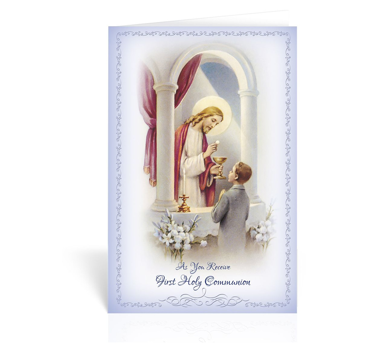 First Communion Greeting Card Boy Christ And Girl Pink C9210