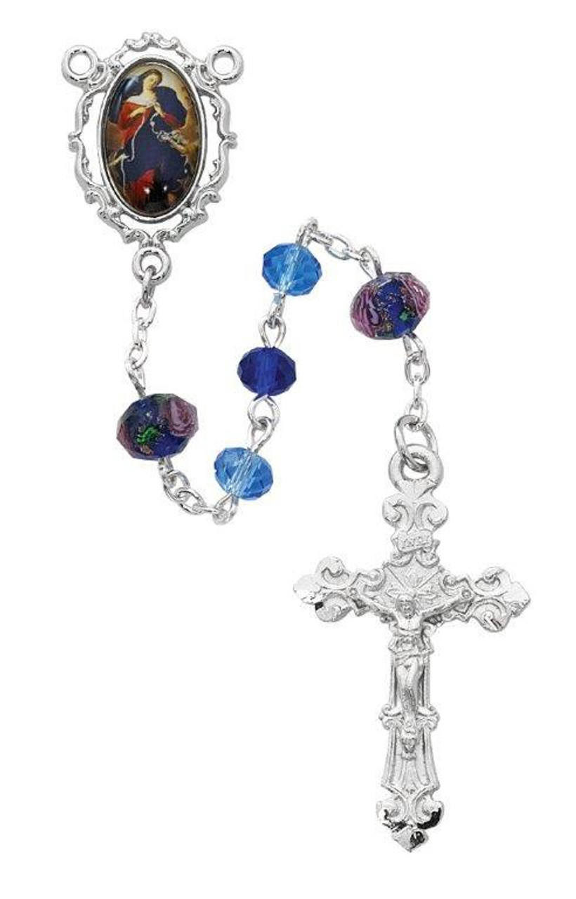 10cacfd88 rosary beads with our lady undoer of knots centerpiece has blue and purple  crystal beads measures