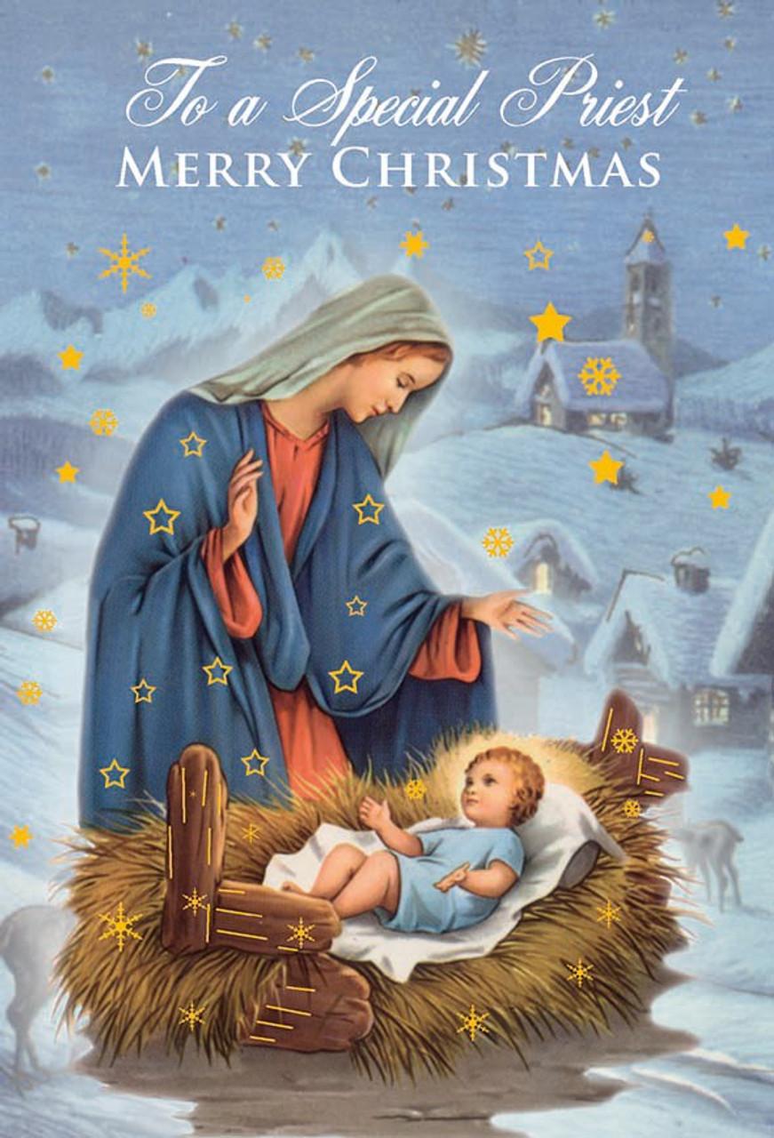 Jesus Christmas Pic.Christmas Greeting Card For Priest Mary Jesus 6 3 4 87448