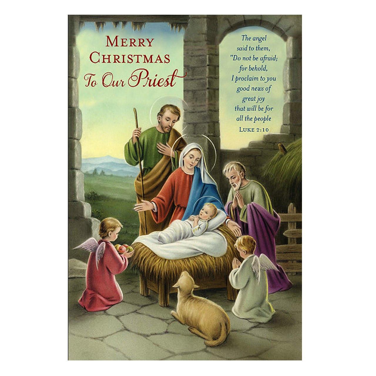 Christmas Greeting Cards.Christmas Greeting Card For Priest Nativity Luke 2 10 6 3 4 89980