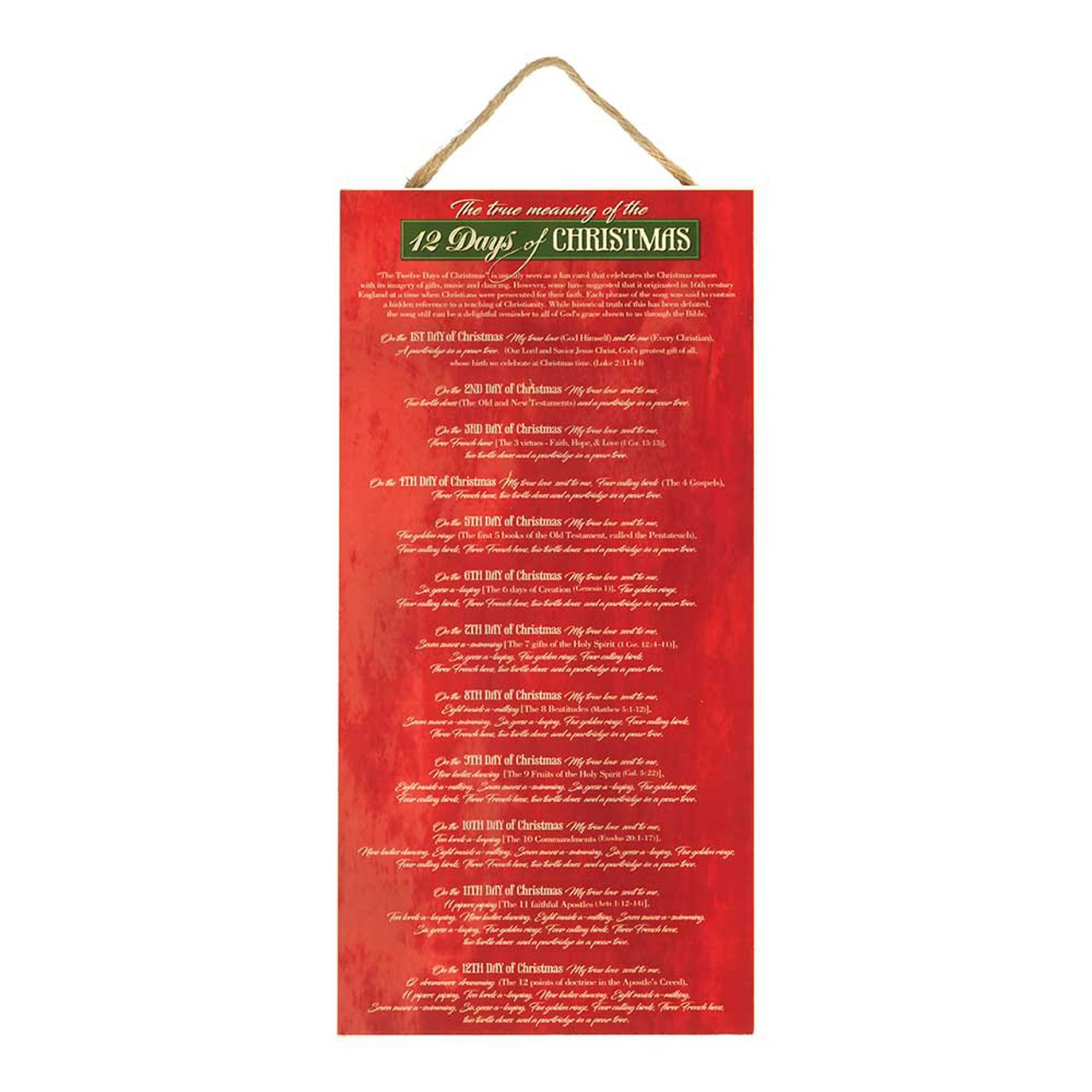 The 12 Days Of Christmas.12 Days Of Christmas Wall Plaque True Meaning 16 Wood Dichplqh816101