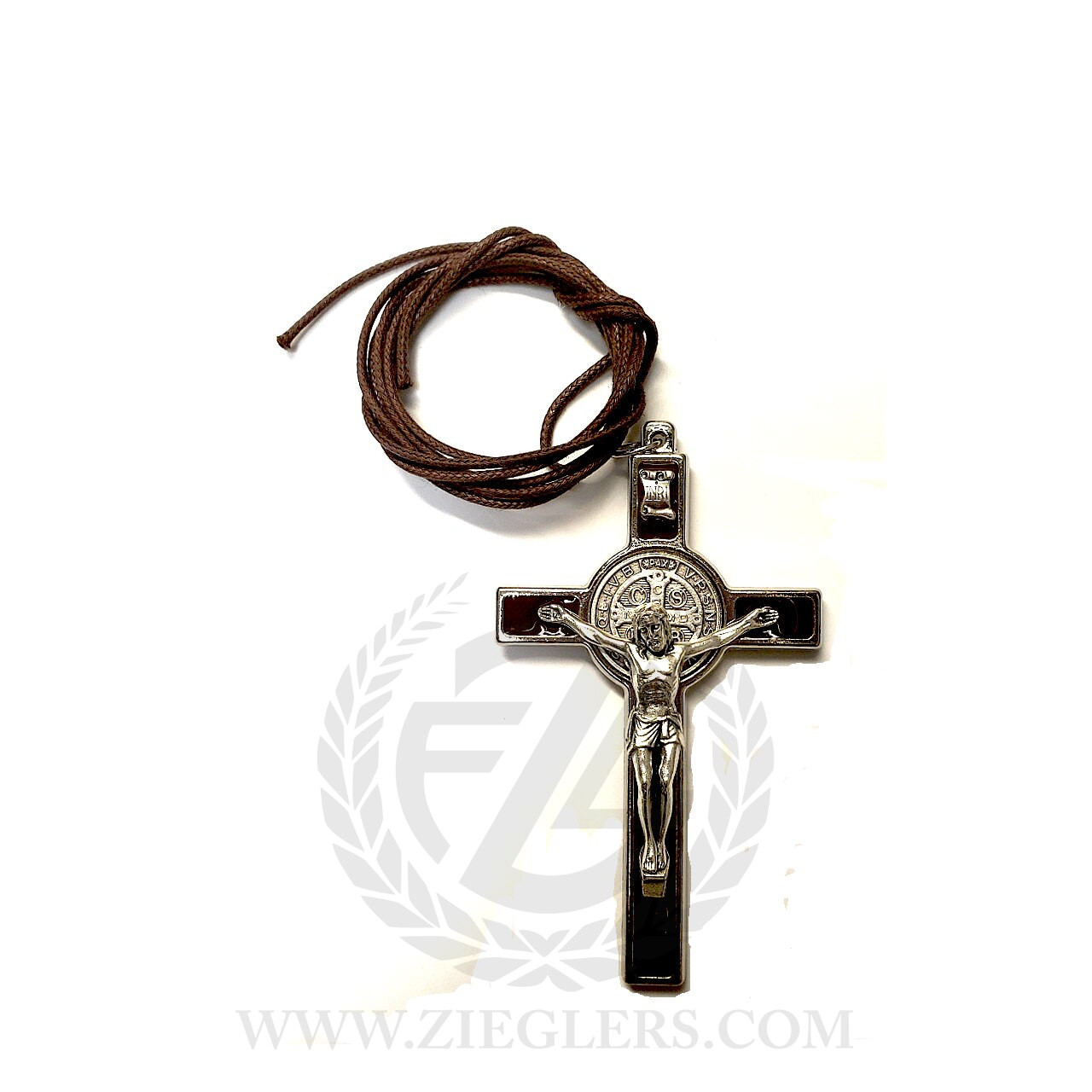 Saint Benedict Crucifix Necklace | Brown | Metal | 3"