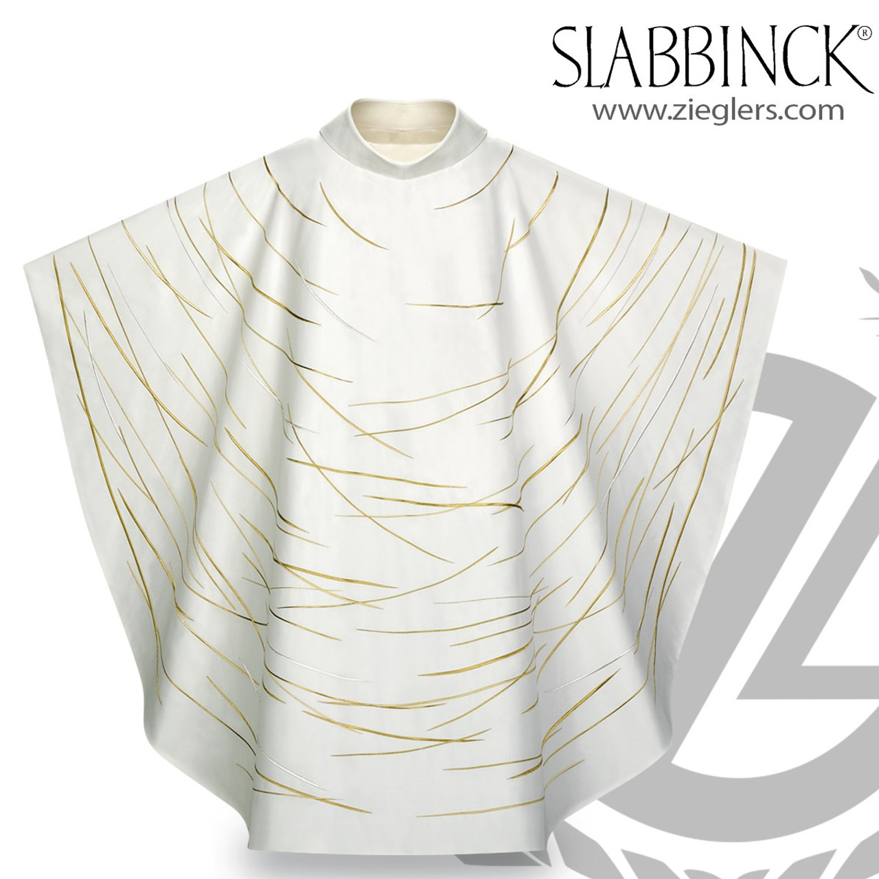 Gothic Chasuble | Lights of Fatima | Roll Collar | Silver & Gold on White |  Slabbinck