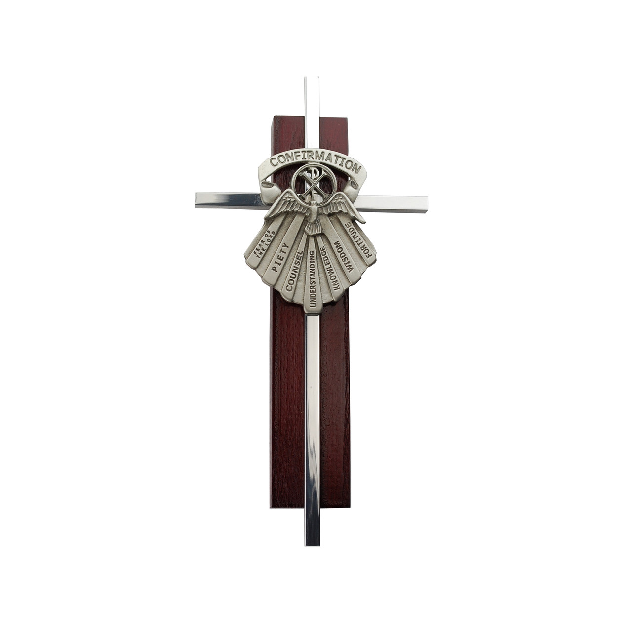Confirmation Wall Cross with Seven Gifts of the Holy Spirit Emblem on Metal & Cherry Wood
