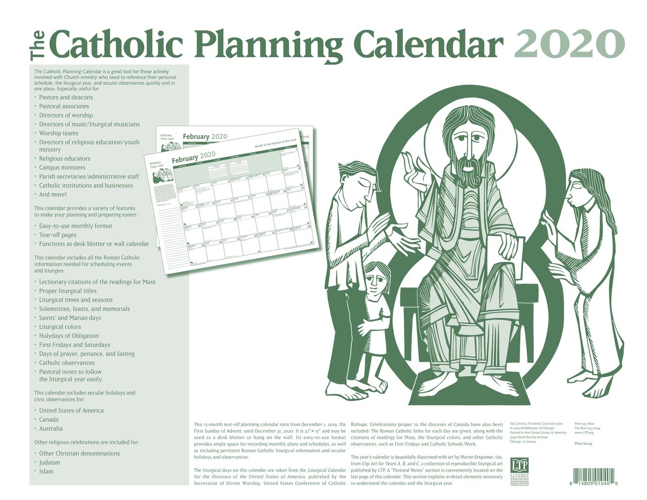 Roman Catholic Liturgical Calendar 2020 2020 Catholic Planning Calendar | Liturgical Year | 13 Month | 17