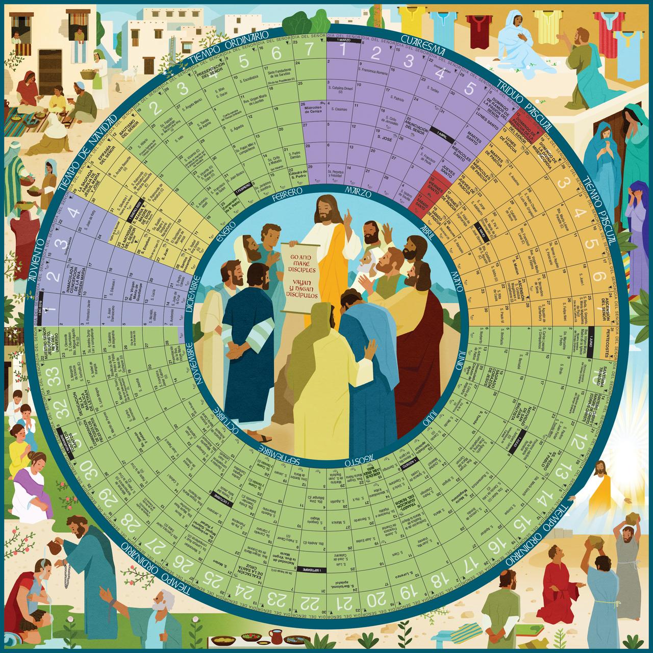 Calendario Liturgico Romano 2020.2020 El Ano De Gracia Liturgical Calendar Spanish Poster 26 X 26
