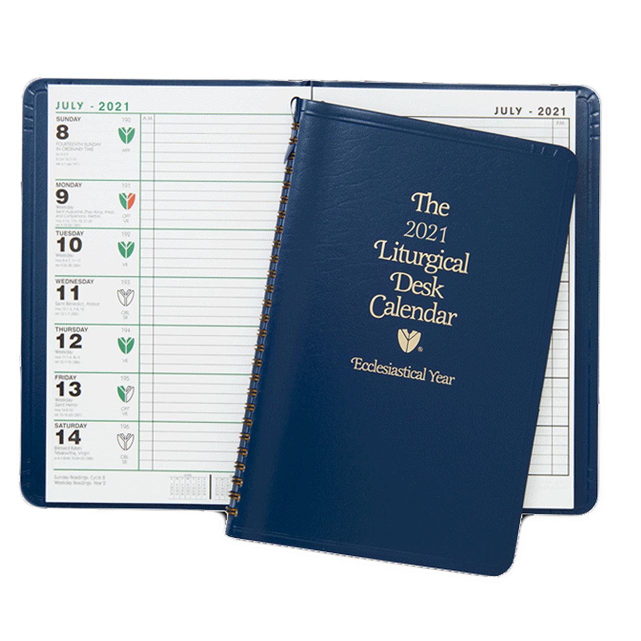 Liturgical Desk Calendar 2021 2021 Liturgical Desk Calendar   Spiral Bound   Flex Cover   9 3/4