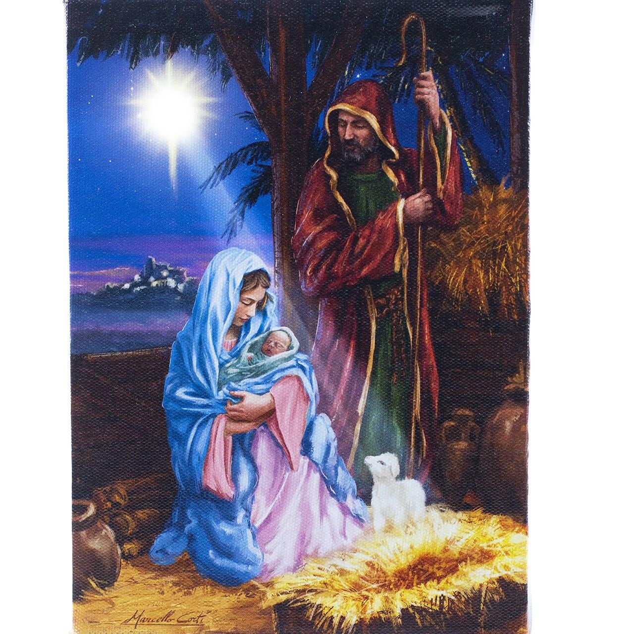 Manger Scene Wall Art Star Of Bethlehem Lighted Canvas 7 X 8 1 4 197346 F C Ziegler Company