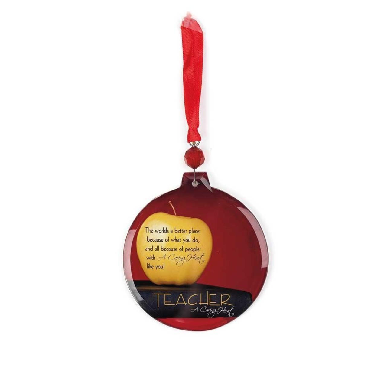 Teacher Christmas Ornament Caring Heart Poem 3 1 2 Glass Cho734 F C Ziegler Company