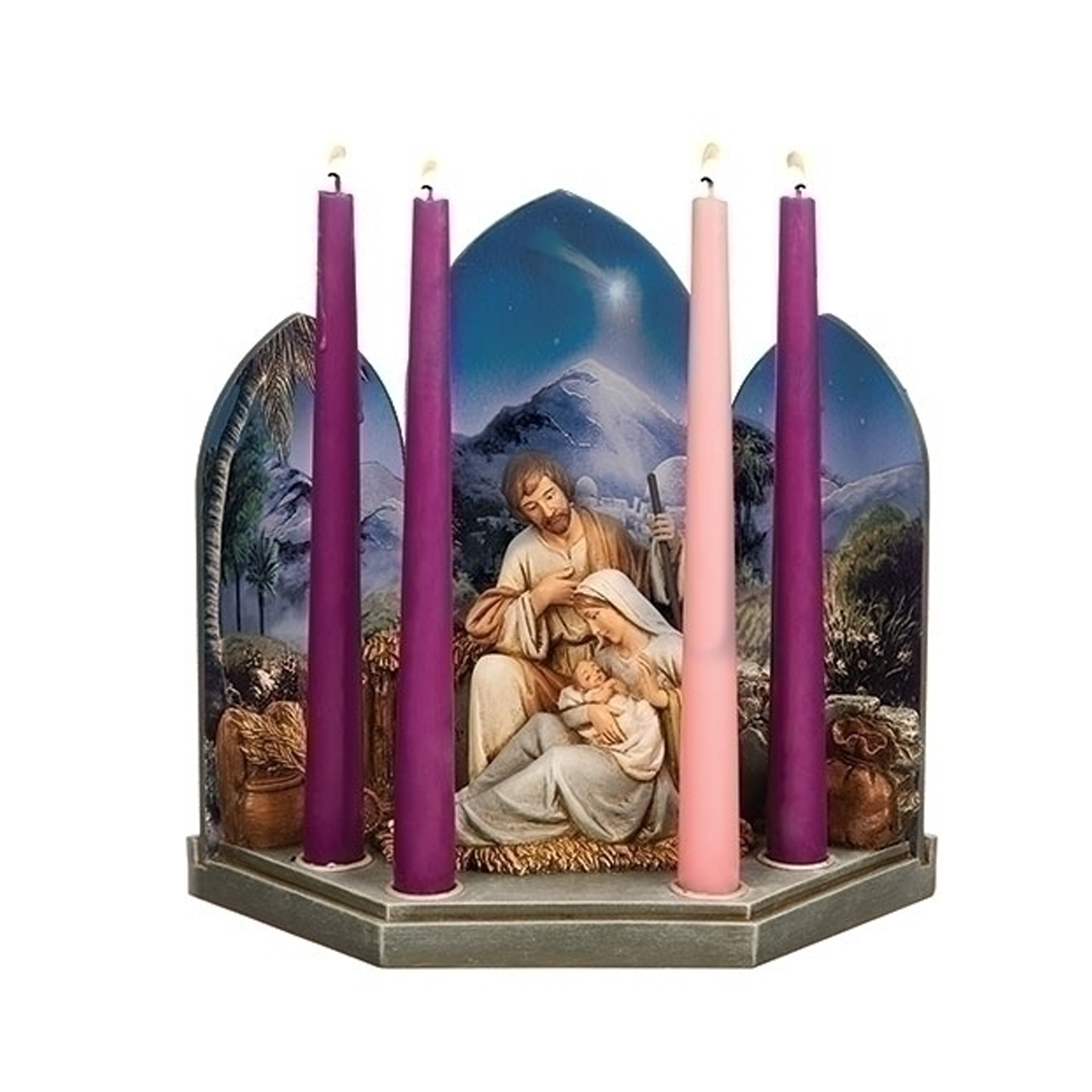Holy Family Advent Candleholder Triptych Background Resin 9 3 4 633285 F C Ziegler Company
