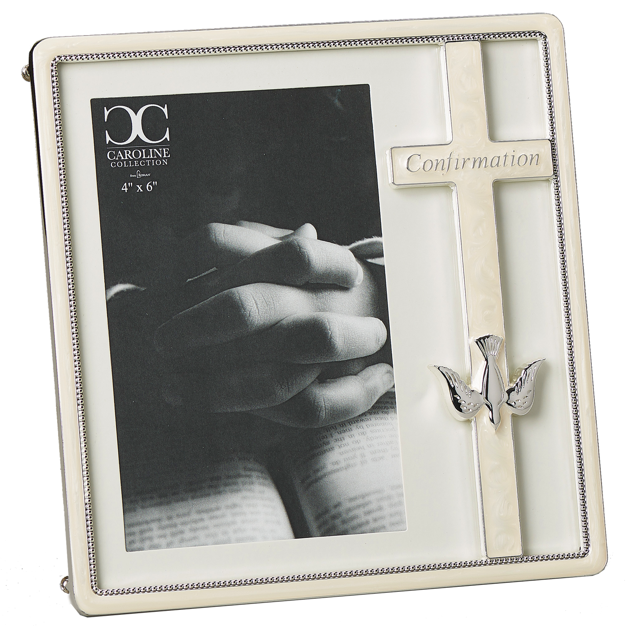 White Confirmation Day Photo Frame with Silver Dove Symbol Picture Keepsake Gift