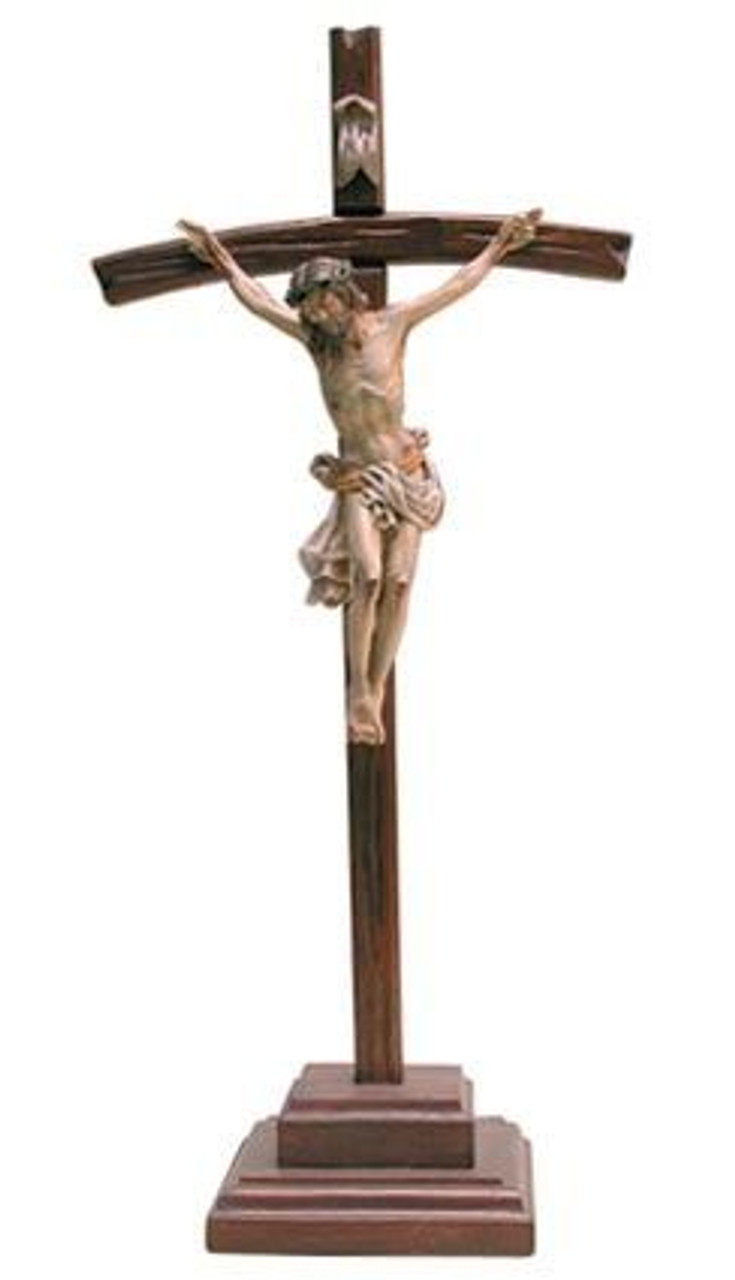Standing Crucifix Medium Brown Stain Curved Cross On Base 15 Peru F C Ziegler Company