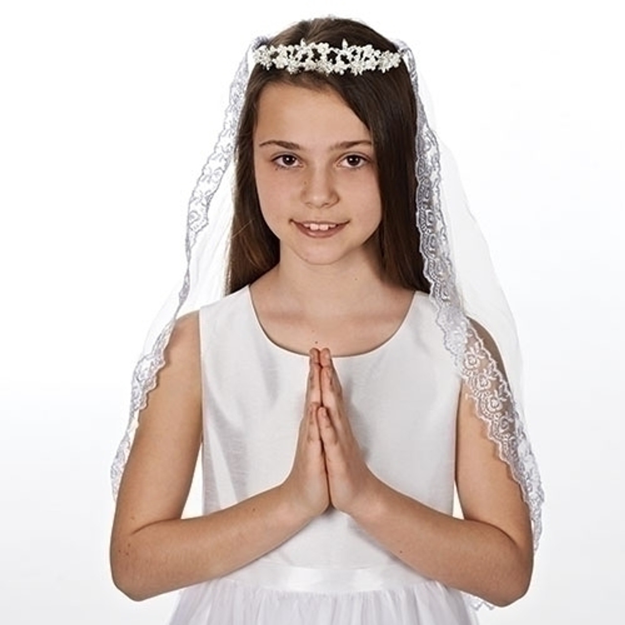 ce3ed387831e0 First Communion Veil tiara style with pearl and rhinestone flowers on veil  with lace edge measures