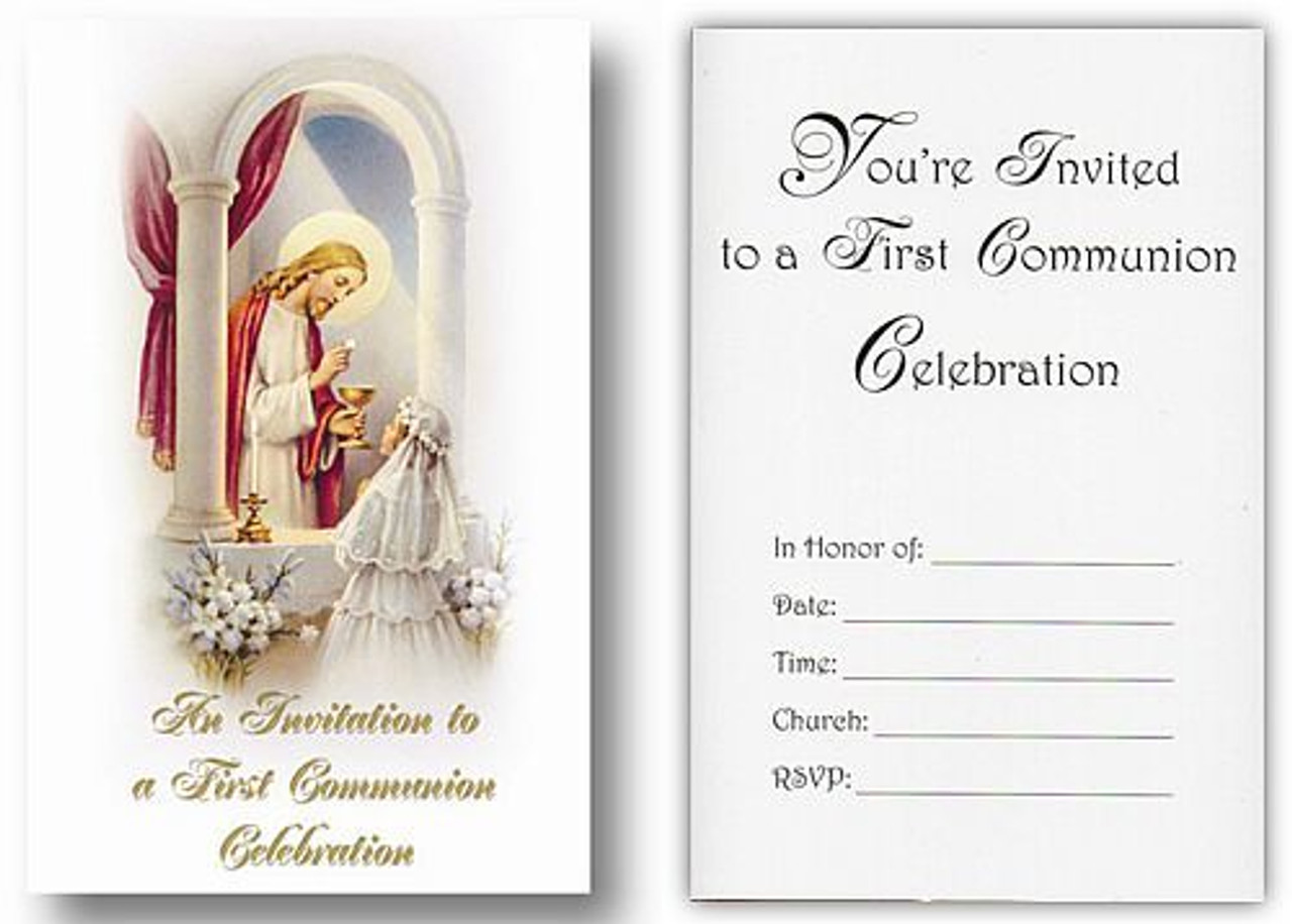 First Communion Invitations 1st Communion Girls Invites Pack 20 with Envelopes