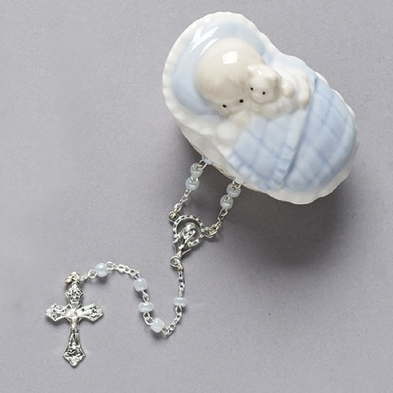 Keepsake Box   Boy Tucked Under Blanket   Porcelain   Rosary Beads Included    31008