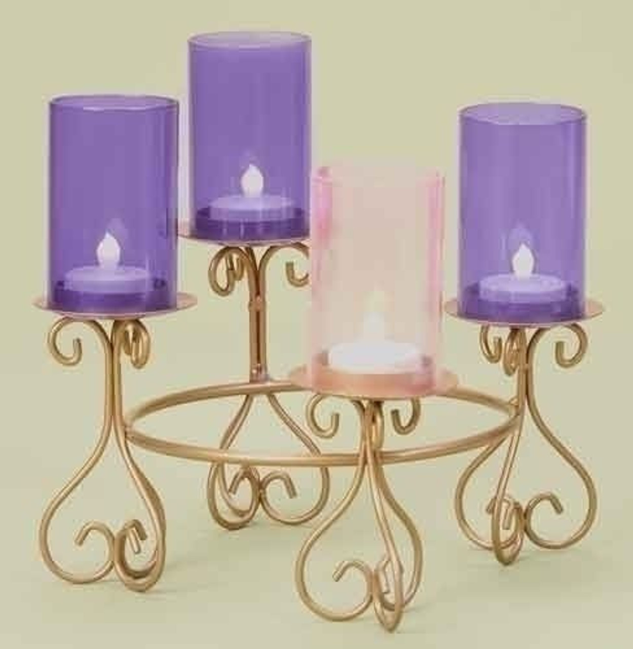 Scrollwork Advent Candleholder Gold Painted Metal 8 3 4 Diameter F C Ziegler Company