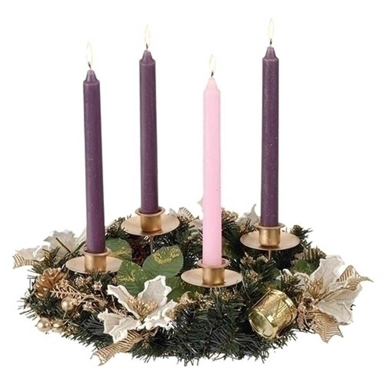 Sold Out Ivory Poinsettia Advent Wreath Pine Gold Berries Metal Frame 12 F C Ziegler Company