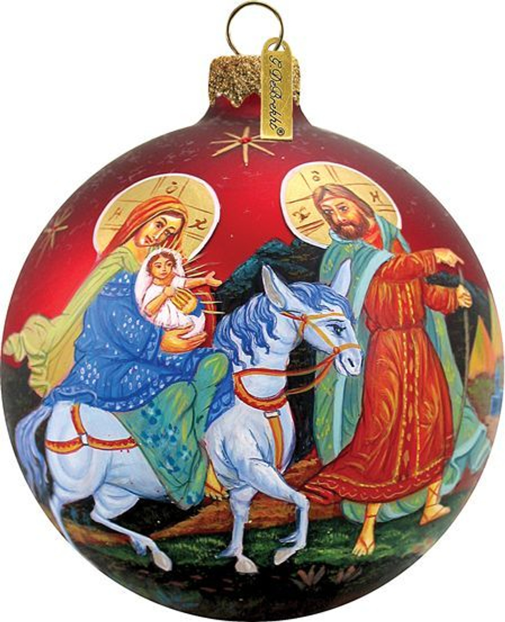 Vintage Style Christmas Ornaments.Holy Family Christmas Ornament Red Vintage Style Art Glass 3 1 2